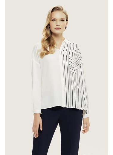 NaraMaxx Çizgili Dökümlü Gömlek Bluz Beyaz